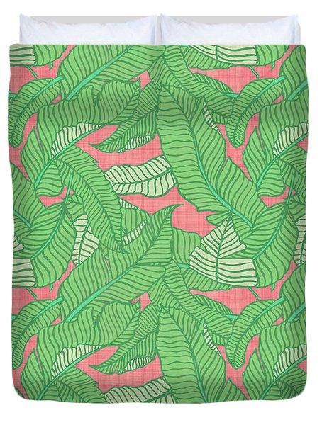 Banana Leaf Pattern Pink Duvet Cover
