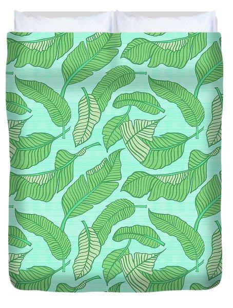 Banana Leaf Pattern Blue Duvet Cover