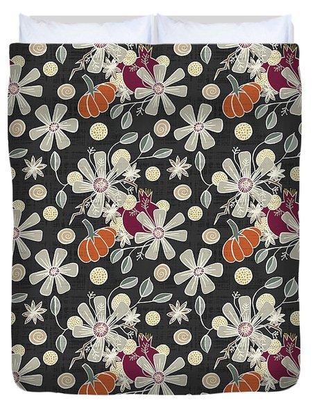 Fall Pumpkin Botanical Pattern Black Background Duvet Cover