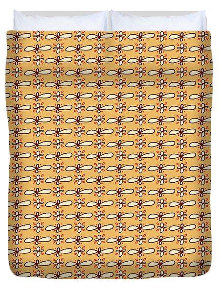 Butterscotch Retro Floral Pattern Duvet Cover