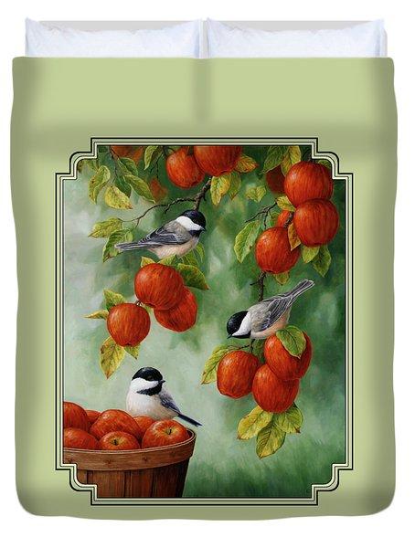 Bird Painting - Apple Harvest Chickadees Duvet Cover