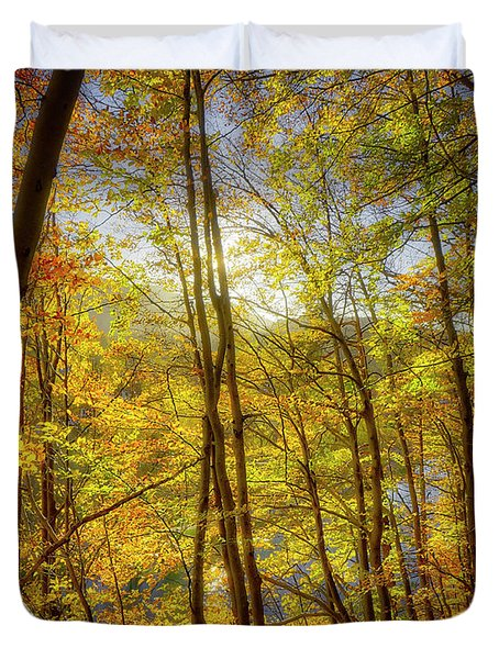 Duvet Cover featuring the photograph As The Leaves Turn  by Edmund Nagele