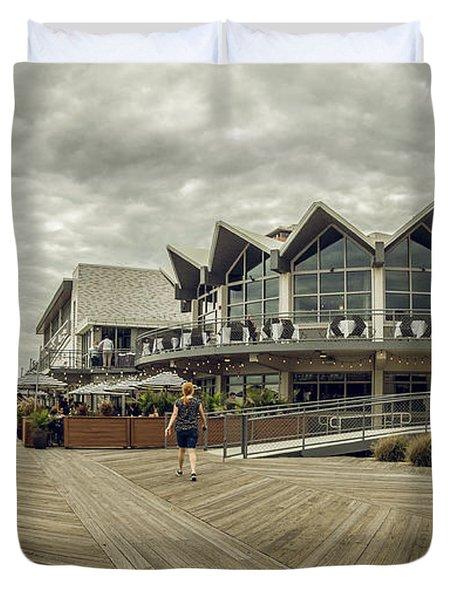 Asbury Park Boardwalk Looking South Duvet Cover