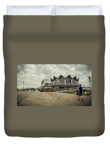 Duvet Cover featuring the photograph Asbury Park Boardwalk Looking South by Steve Stanger