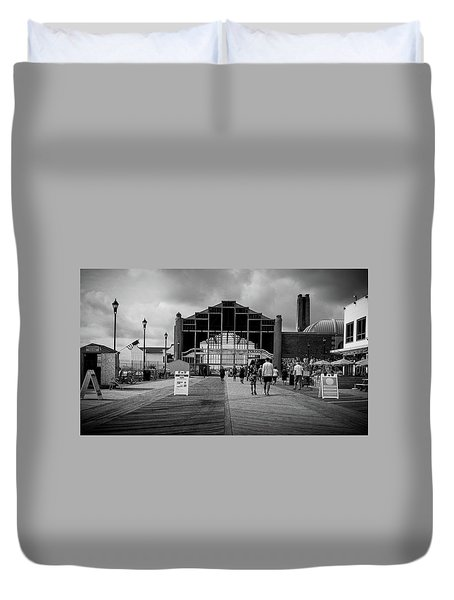 Duvet Cover featuring the photograph Asbury Park Boardwalk by Steve Stanger