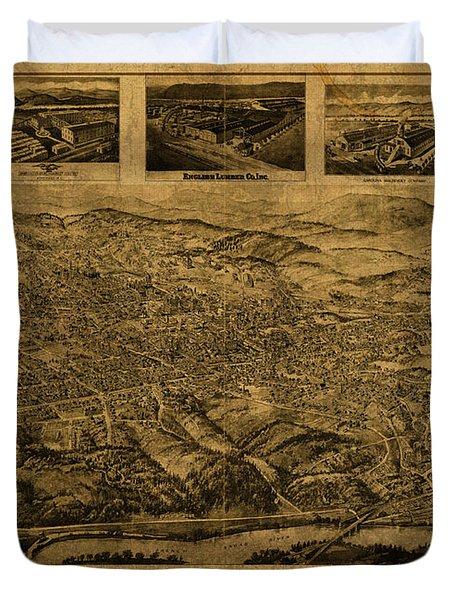 Asheville North Carolina Vintage City Street Map Birds Eye View 1912 Duvet Cover