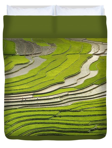 Asian Rice Field Duvet Cover