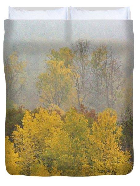 Aspen Trees In Fog Duvet Cover