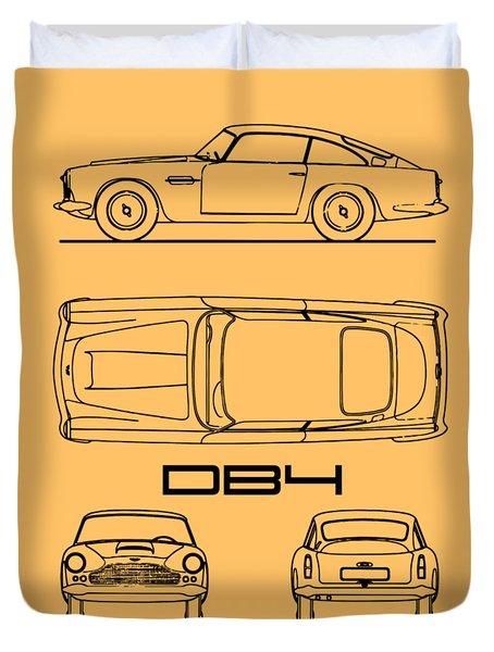 Aston Martin Db4 Blueprint Duvet Cover