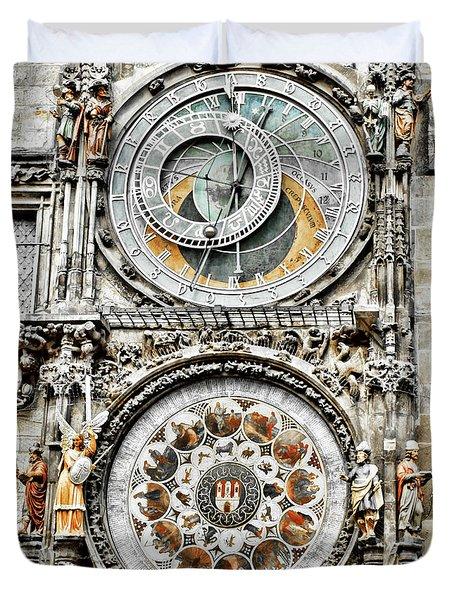 Astronomical Clock Prague Close-up Duvet Cover