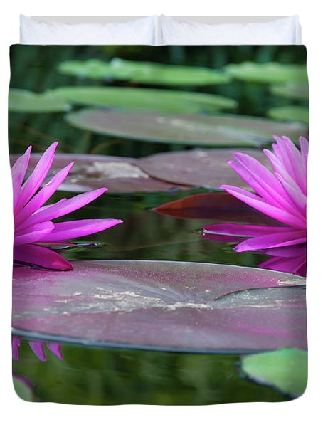 At Longwood Gardens - Water Lillies  Duvet Cover