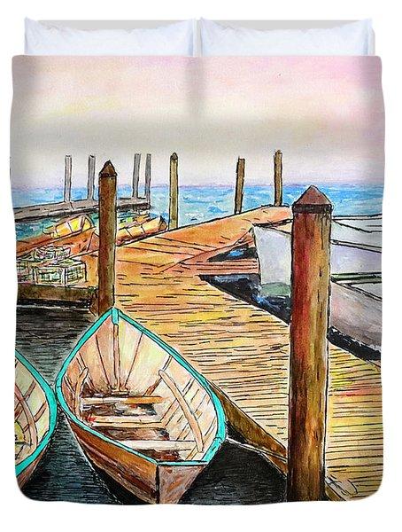 At The Dock In Gloucester Massachusetts Duvet Cover