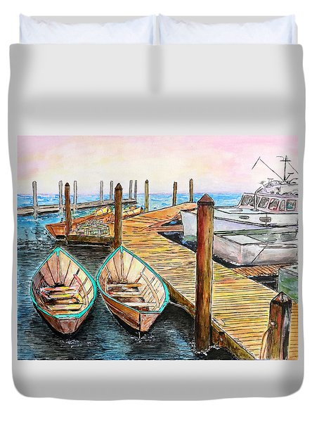 At The Dock In Gloucester Massachusetts Duvet Cover