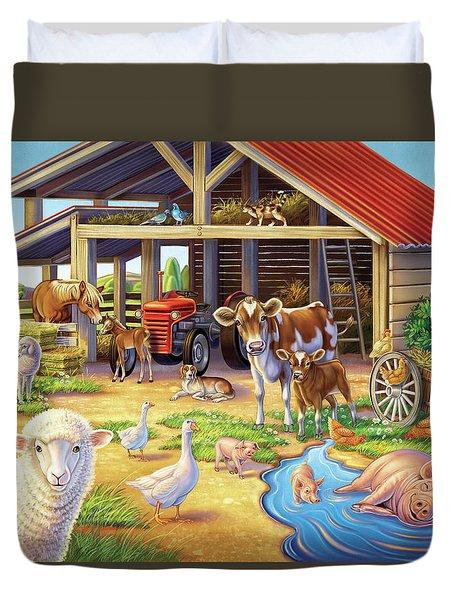 At The Farm Duvet Cover