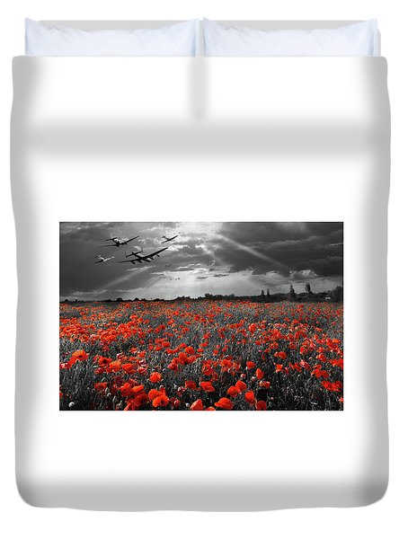 Duvet Cover featuring the photograph At The Going Down Of The Sun Selective Red Version by Gary Eason