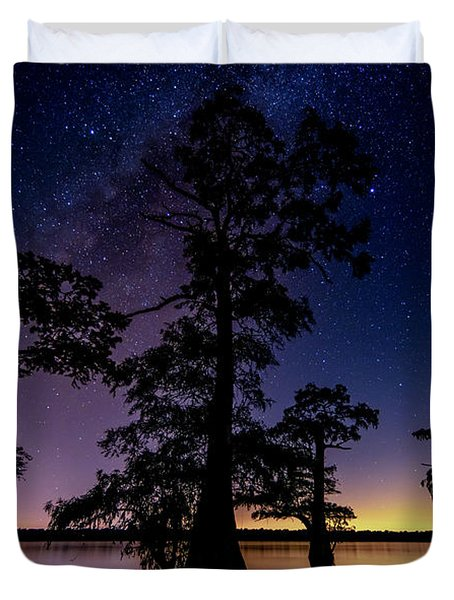 Duvet Cover featuring the photograph Atchafalaya Basin Under The Miky Way by Andy Crawford