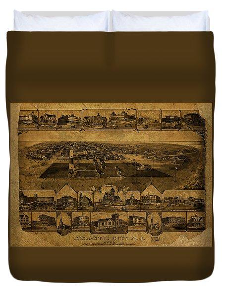 Atlantic City New Jersey Vintage Map 1880 Duvet Cover