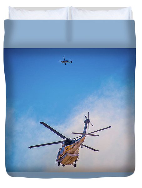 Duvet Cover featuring the photograph Attacking The Fire From All Sides by Lynn Bauer