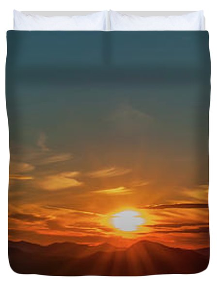 Attean Pond Sunset Duvet Cover