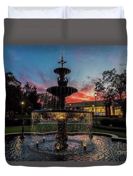 Augusta University Fountain Sunset Ga Duvet Cover