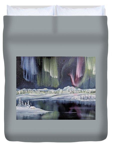 Duvet Cover featuring the painting Aurora Borealis by Deleas Kilgore