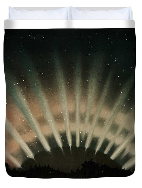 Aurora Borealis From The Trovelot Astronomical Drawings  1881-1882  By E. L. Trouvelot  1827-1895  Duvet Cover