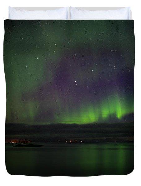 Aurora Borealis Reflecting At The Sea Surface Duvet Cover