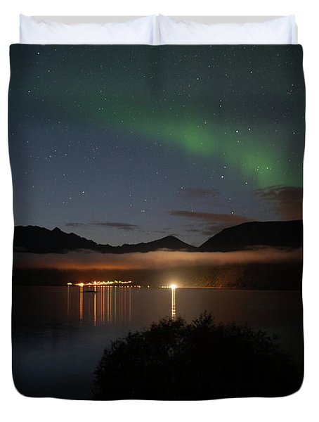 Aurora Northern Polar Light In Night Sky Over Northern Norway Duvet Cover