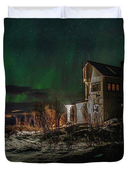 Aurora Over The Radio Station Duvet Cover