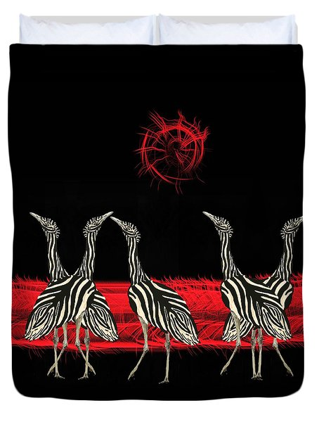 Zebra Australian Bustards Red Sun Duvet Cover