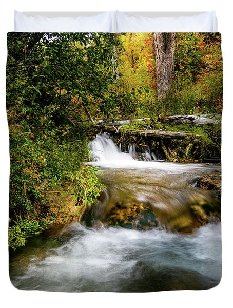Duvet Cover featuring the photograph Autumn Along The Provo Deer Creek by TL Mair
