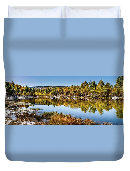 Duvet Cover featuring the photograph Autumn At Ivie Pond Panoramic by TL Mair