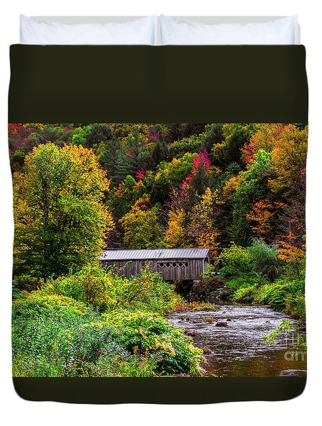 Autumn At The Comstock Covered Bridge Duvet Cover
