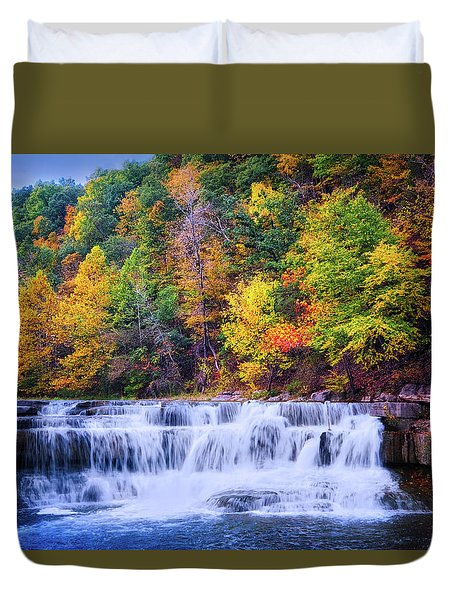 Duvet Cover featuring the photograph Autumn Beauty At Lower Taughannock Falls  by Lynn Bauer