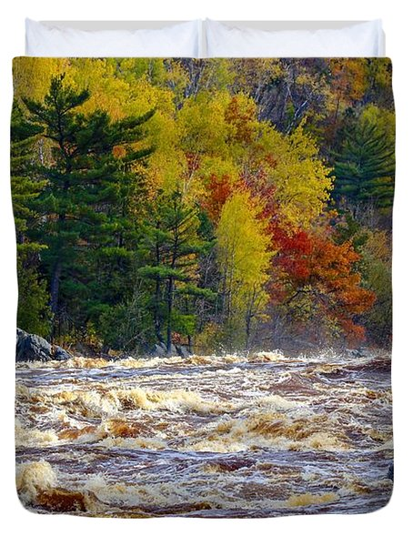 Autumn Colors And Rushing Rapids   Duvet Cover