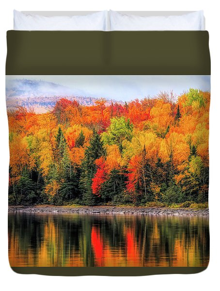 Duvet Cover featuring the photograph Autumn Colors Reflection by Dan Sproul