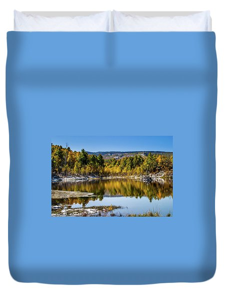 Duvet Cover featuring the photograph Autumn Cove At Ivie Pond by TL Mair
