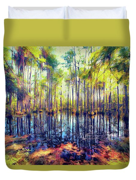 Autumn Fall Colors In The Cypress Swamp Ap Duvet Cover