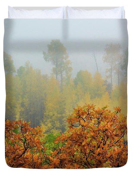 Autumn Foggy Day Duvet Cover