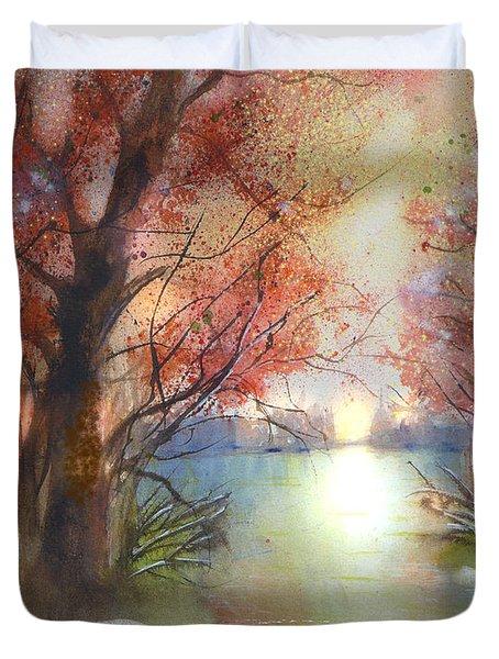 Autumn Forest Sunrise Duvet Cover