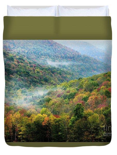 Autumn Hillsides With Mist Duvet Cover