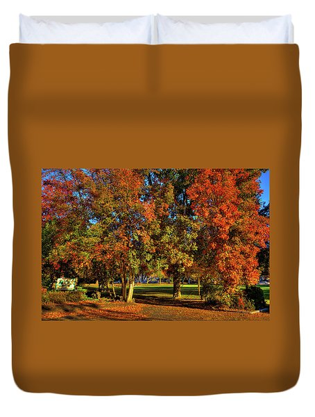 Duvet Cover featuring the photograph Autumn In Reaney Park by David Patterson