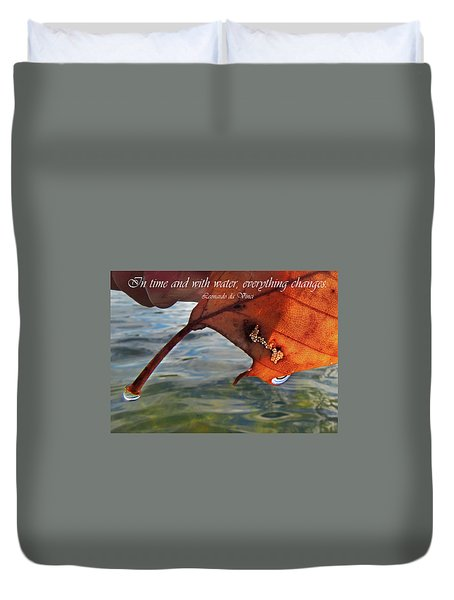 Autumn Leaf And Leonardo Quote Duvet Cover