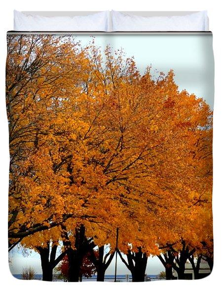 Autumn Leaves In Menominee Michigan Duvet Cover
