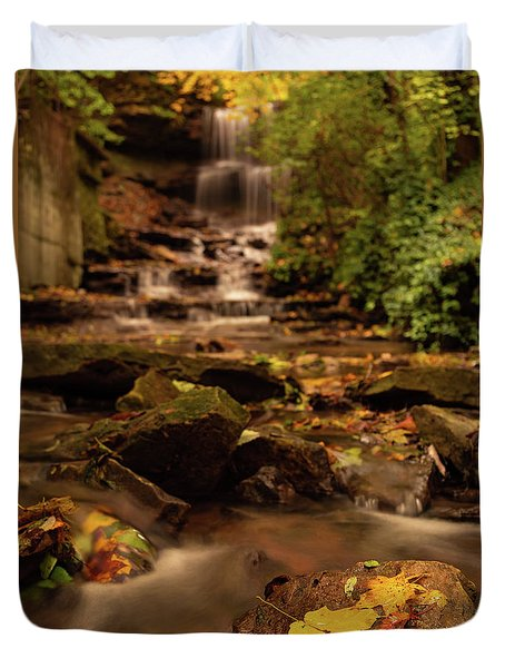 Duvet Cover featuring the photograph Autumn Leaves West Milton Waterfall by Dan Sproul