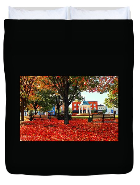 Duvet Cover featuring the photograph Autumn Main Street by Candice Trimble