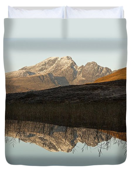 Duvet Cover featuring the photograph Autumn Meets Winter At Blaven by Stephen Taylor