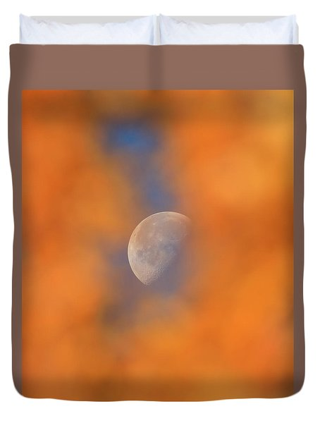 Duvet Cover featuring the photograph Autumn Moon by Dan Sproul