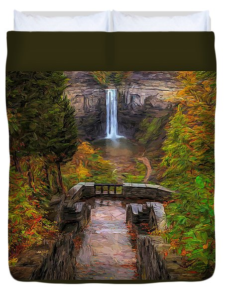 Duvet Cover featuring the painting Autumn Morning At Taughannock Falls by Dan Sproul