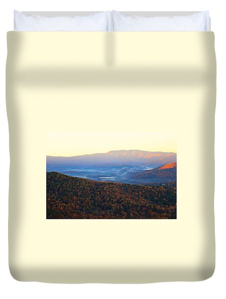 Duvet Cover featuring the photograph Autumn Mountains  by Candice Trimble